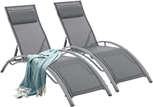 Outdoor Lounge Chairs Patio Chairs Set of 2 Outdoor ChairAdjustable Chaise Lounge 5-Level Pool Chairs with Headrest for Beach, Pool (Gray)