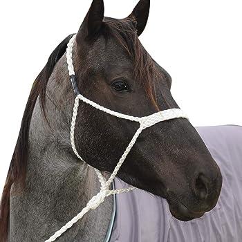 Mustang Flat Braid White Mule Tape Halter w//Lead