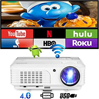 HD LED Bluetooth Android Projector with WiFi HDMI USB 4400lumen Wxga LCD Smart TV Projector Home Theater Cinema Support Full HD 1080P Movie Projector Compatible with iPhone, iOS TV Box Ps4