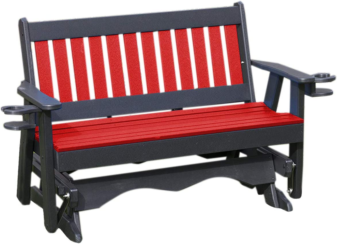 Super intense SALE 4FT-Bright RED-Poly Minneapolis Mall Lumber Mission Porch with Glider a Cupholder