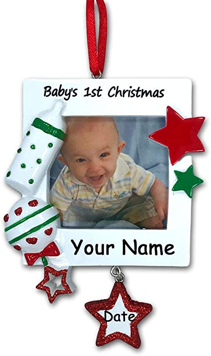 Amazon Com Personalized Baby S First Christmas Ornament Picture Frame With Custom Name And Date Home Kitchen