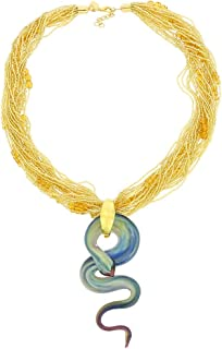 GlassOfVenice Murano Glass Gloriosa 27 Strand Seed Bead Snake Necklace