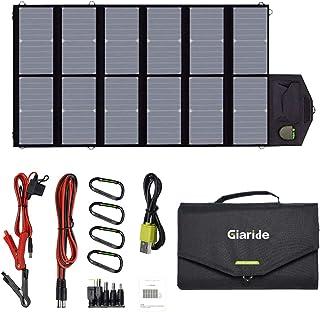 ソーラーパネル GIARIDE 18V 12V 80W 折り畳み 「2020年11月改善品」 単結晶セル最大25%交換効率 (DC18V4A+usb*2) ソーラーチャージャー IP65防水防塵 太陽光発電パネル ラップトップ、スマホ、ノートパ...