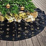 Tenrany Home Gonne per Alberi di Natale, 90cm Pelliccia Oro Fiocchi di Neve Christmas Tree Skirt per Festa di Natale Partito Vacanza Decorazione (Nero, 30 inches)