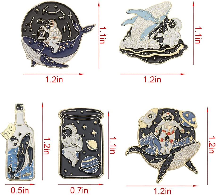 CUTIHO Astronaut and Whale Pin Adventure Ocean Drifting Wishing Bottle Brooches Bag Pin Badge Jewelry - Type 4