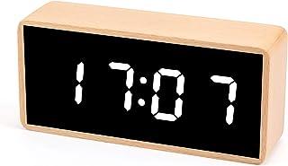 "Digital Alarm Clock, MiCar Solid Wood Led Modern Desk Clock with 5.5""x2.36"" Display, 7 Brightness, 5 Volume, 3 Alarms, Sno..."
