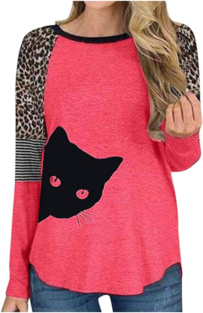 F/_topbu Sweatrshirt for Women Long Slevee O-Neck Tops Cat Printed Leopard Striped Splicing Pullover Casual Loose Blouse