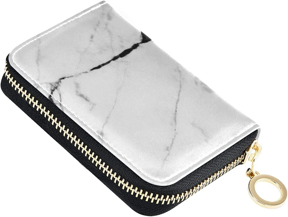 Card Wallet White Marble safety Texture Leather Natural Small Zi Rare Stone