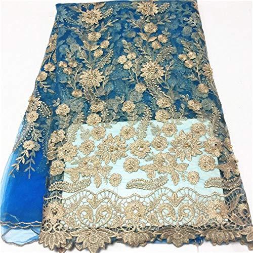 PENVEAT Afrikanisches blauen Spitze-Gewebe-Hochzeitskleid Französisch Nigerian Tüll Netto Fabrics günstiger Preis Großhandel Tüll Spitze Stoff mit Perlen, PL1200504F105