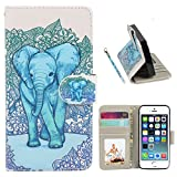 iPhone 5S Case, Speedtek Elephant Pattern Premium PU Leather Wallet Flip Protective Skin Case with Magnetic Closure for Apple iPhone 5 5G (2012) & iPhone 5S (2013)