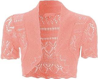 Uptown girl - Coprispalle da donna, tagliato a bolero, in maglia, aperto davanti, maniche corte