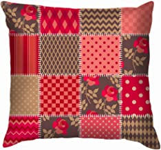 Red Blanket Country Style Quilt Design Funny Square Throw Pillow Cases Cushion Cover for Bedroom Living Room Decorative 22...