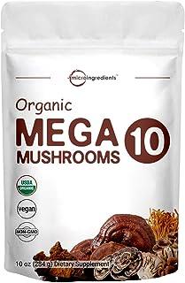 Sustainably US Grown, USDA Organic Mega 10 Mushroom Complex Powder for Immune System Booster, 10 Ounce (284 Grams), Chaga,...