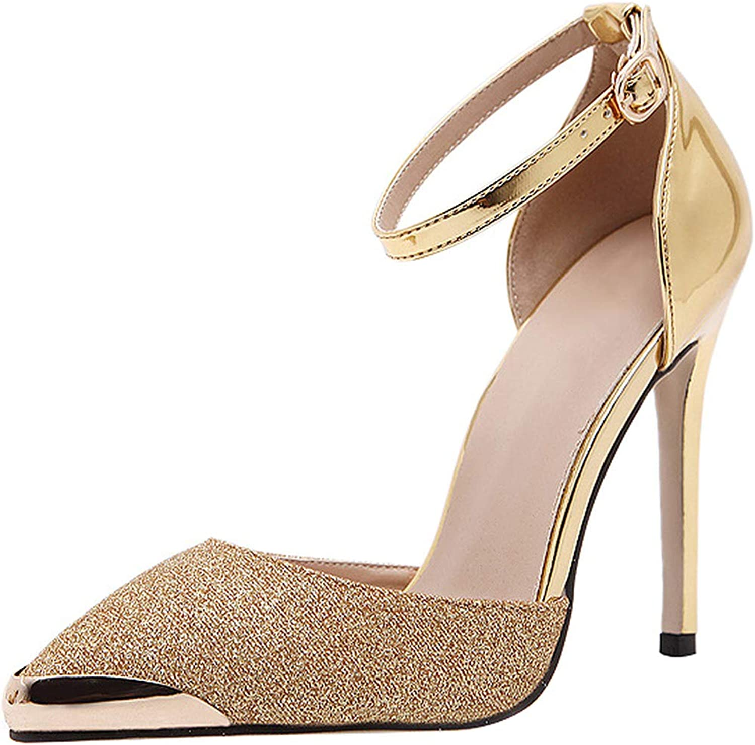 Sekesin Women's Pointed Toe Strappy High Heel Pumps D'Orsay Evening Party Dress Casual Sandal shoes