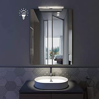 styleglass Specchio Bagno Rettangolare Sole 80 x 60 cm, Specchio Parete con Luce Made in Italy, Spessore 4mm, Illuminazion...