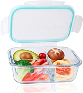 35OZ Glass Lunch Containers, Glass Storage Containers, 3 Compartment Glass Meal Prep Containers Reusable with Lids Airtight for Office Workers Prepare Meals and snacks