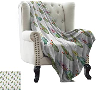LsWOW Outdoor Blanket Cactus,Thorny Vintage Hawaiian Nature Flourishing Succulents and Cactus Bouquets Picture, Multicolor Warm Blanket for Autumn Winter 70