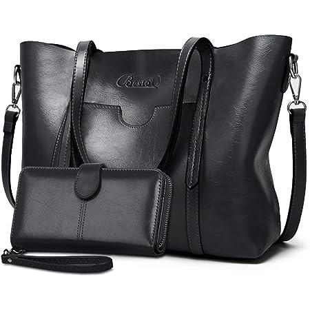 BestoU Damen Handtasche Leder Groß Tasche Shopper Schultertasche Umhängetasche Henkeltasche Damen 2pcs Set (Schwarz)
