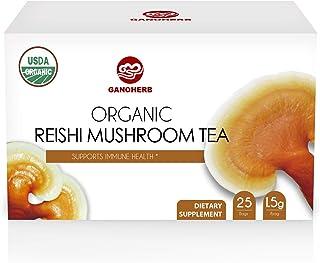 GANOHERB USDA Organic Reishi Mushroom Tea with 100% Ganodema Herbal for Boost Immune System-Vegan, Paleo, Gluten Free,All ...