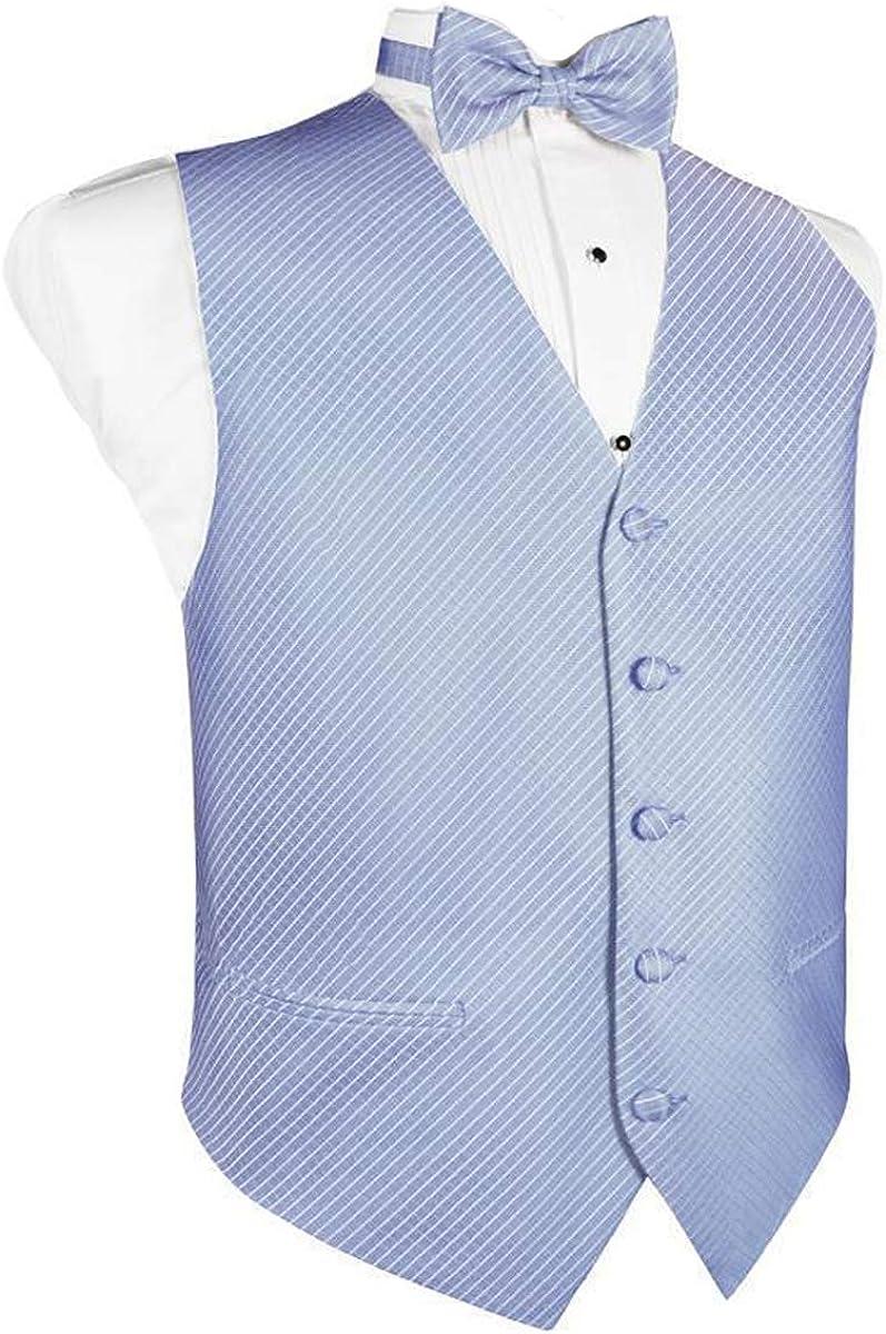 Men's Cornflower Grid Pattern Tuxedo Vest and Bow Tie