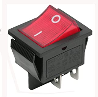 Upplyst rött ljus DPST momentär vippbrytare av-knapp i 22 x 30 mm 4 stift