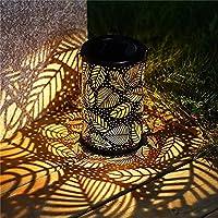 XIEZI ソーラーガーデンライトレトロソーラーランタン、ソーラーガーデンライトハンギングランタン、パティオ裏庭の通路の金属箔パターンのための防水Ledソーラー装飾照明