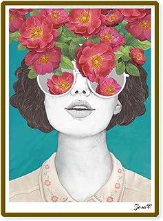 Lightclub Nordic Sunglasses Flower Girl Canvas Frameless Indoor Wall Painting Decoration Size 50cm x 70cm