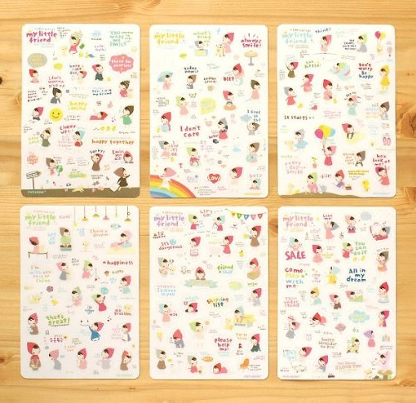 ONOR-Tech 6 Sheets Cartoon Lovely Scrapbooking Diary, Album Phone Sticker Adhesive