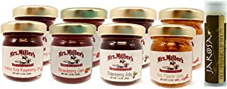 Mrs. Miller's Mini CLASSIC Sampler Variety 1.5 oz. - Pack of 8 (2 of ea): Seedless Red Raspberry Jam, Strawberry Jam, Elderberry Jelly & Hot Pepper Jelly with a Chocolate Lip Balm by Jarosa Gifts