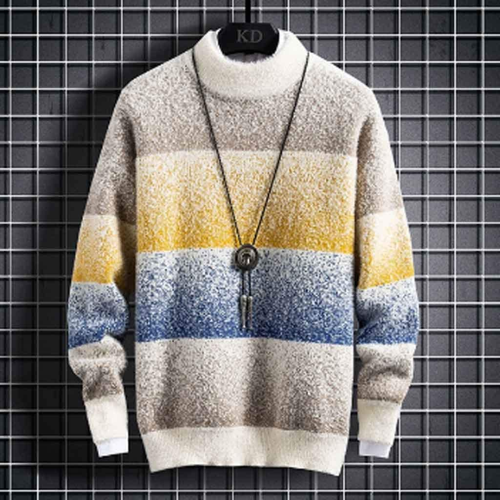 ZYING New Winter Cashmere Sweater Men Fashion Striped Male Jumpers Half Turtleneck Thick Warm Mens Pullovers Sweaters Tops (Color : Style 2)