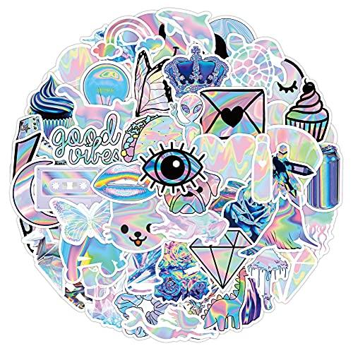 DSSK Pegatinas de Grafiti de Colores fríos, 53 Piezas, Serie holográfica, Pegatinas de Grafiti, Maleta Impermeable, portátil, Scooter, Taza de Agua, Pegatinas