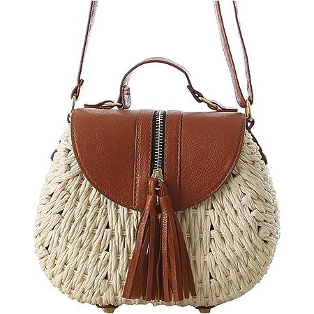 Toruiwa Damen Umhängetasche Stroh Crossbody Tasche Weben Handtasche Strohtaschen Rattan Tasche für Sommer Strand 22 * 18 * 9cm (Beige)