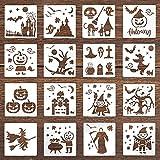 KINBOM 16 Piezas 15x15cm Plantillas de Pintura Halloween, Plástico Reutilizables Plantillas de Dibujo Patrones de Esqueleto Calabaza Fantasma Bruja...