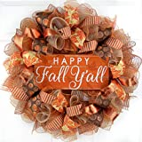 Happy Fall Y'all Wreath | Thanksgiving Deco Mesh Front Door Wreath; Brown Orange Burlap Sale Clearance