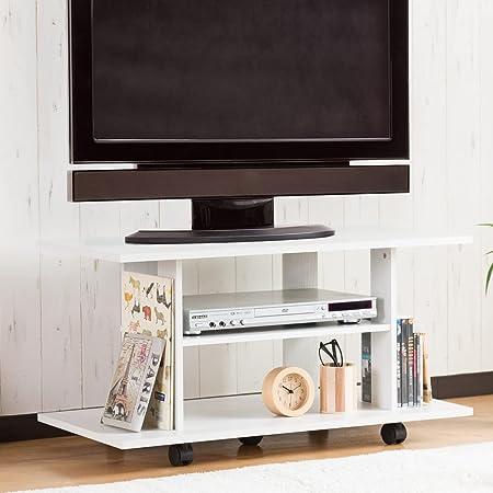 システムK テレビ台 テレビボード 32型対応 幅80cm キャスター付き ホワイト