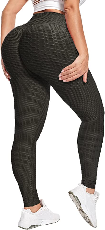 TIK Tok Womens Honeycomb Leggings - Opaque Butt Lift High Waisted Tummy Control Yoga Pants for Women with Running Workout Gym