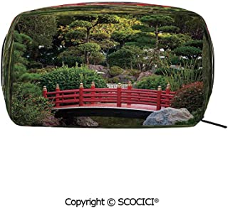 Printed Makeup Bag Organizer toiletry bags Tiny bridge Over Pond Japanese Garden Monte Carlo Monaco Along With Trees and Plants Decorative Rectangle Cosmetic Bags for Girls Ladies