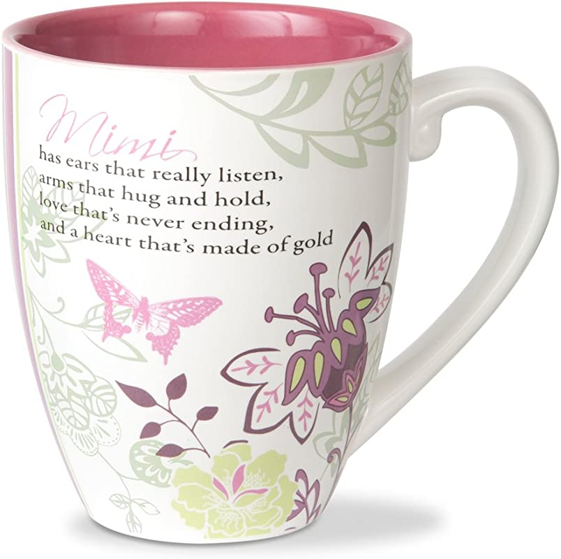 Pavilion Gift Company Mark My Words Mimi Floral Butterfly Grandma Coffee Tea Mug Large Pink