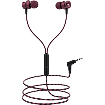 Boat BassHeads 152 Wired Earphones with Super Extra Bass, Durable Cable, Built-in Mic, Metallic Earbuds(Maroon Mirage)
