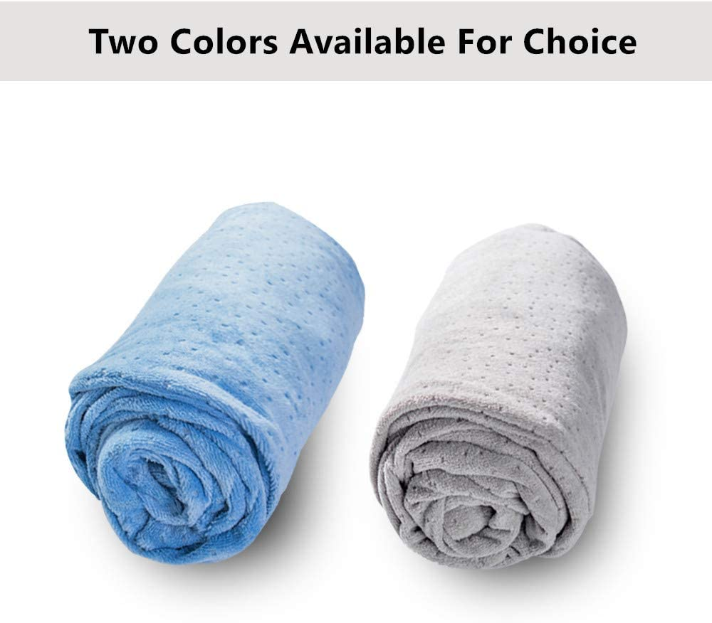 """Breathable Velour Replacement Pillow Cover Case with Zipper for Maternity Pillow 1 MIDDLE ONE U Shaped Pregnancy Pillowcase Fit 55/""""x31/"""" Full Body Pillow Light Blue"""