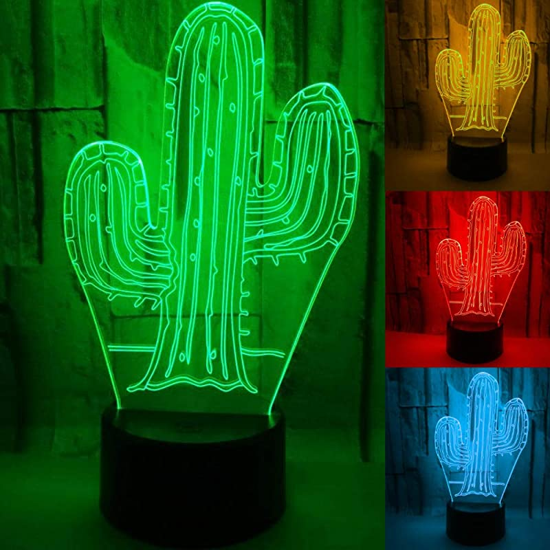 3D Cactus Night Light Table Desk Optical Illusion Lamps 7 Color Changing Lights LED Table Lamp Xmas Home Love Brithday Children Kids Decor Toy Gift