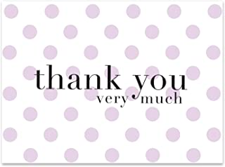 Purple Polka Dot Thank You Cards - 36 Lavender Blank Notes/Note Cards with 36 Envelopes | For Baby & Bridal Shower, Girls, Birthday Party - (Purple Dot)