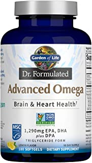 Garden of Life Dr. Formulated Advanced Omega Fish Oil - Lemon, 1,290mg EPA, DHA + DPA in Triglyceride Form, Single Source ...