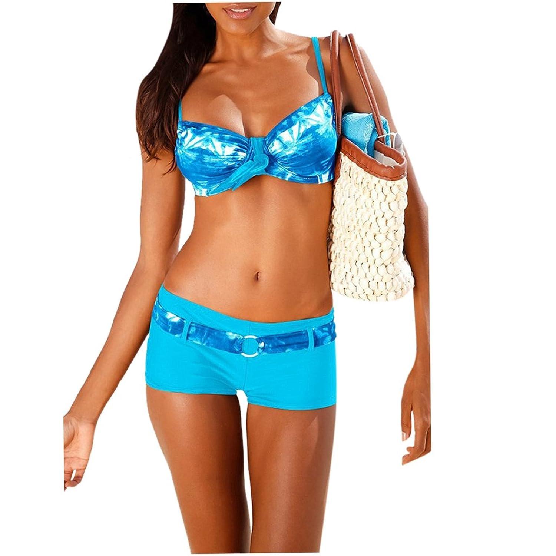 (ラシューバー) Lasuiveur 水着 ビキニ 二点セット レディース 水泳 温泉用 欧米人気 セクシー 美胸 パッド入り ワイヤ付き スイムウェア