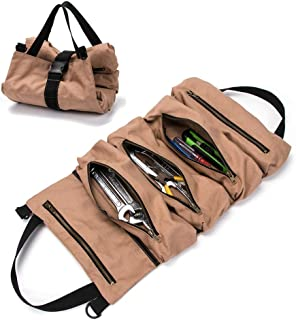 Super Tool Roll, Heavy Duty Durable Wrench Roll with 5 Zipper Pockets, Canvas Pliers Organizer, Socket Organizer, Tool Roll Pouch, Car Seat Back Organizer, Ideal Gift for Men