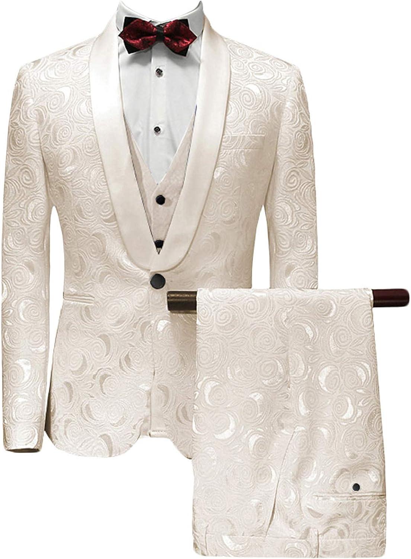 MllesReve Men's Slim Fit 3 Piece Jacquard Floral Wedding Suit Prom Jacket Pants