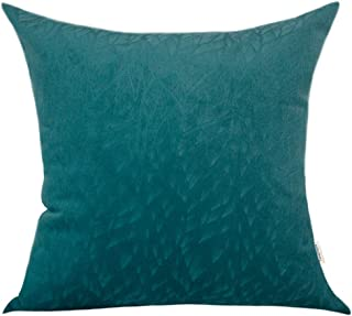 TangDepot Solid Velvet Decorative Pillow Covers/Euro Pillow Shams, Super Soft Velour, Micro Embossed Leaf Texture and Shape, Euro Pillow Shams, Cushion Cover - (26