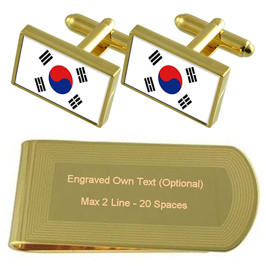 評価可能リンス気づくなる韓国の国旗のゴールド?トーン カフスボタン お金クリップを刻まれたギフトセット