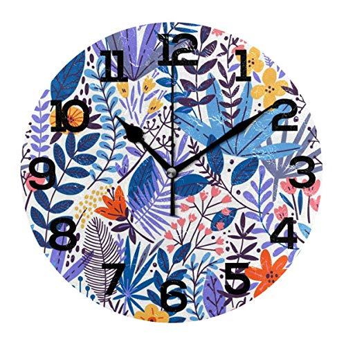 REAlCOOL Planta Hojas púrpuras Flor Reloj de Pared Redondo Reloj de Escritorio silencioso sin tictac Reloj con Pilas para la decoración de la Escuela de la Oficina en casa