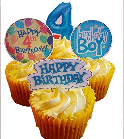 Made4you 4th Birthday Boy Edible Cake Decorations Blue Stand Up Wafer Cupcake Toppers Pack Of 12 Amazon Co Uk Kitchen Home